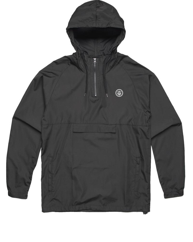 Anchor Windbreaker quarter zip black