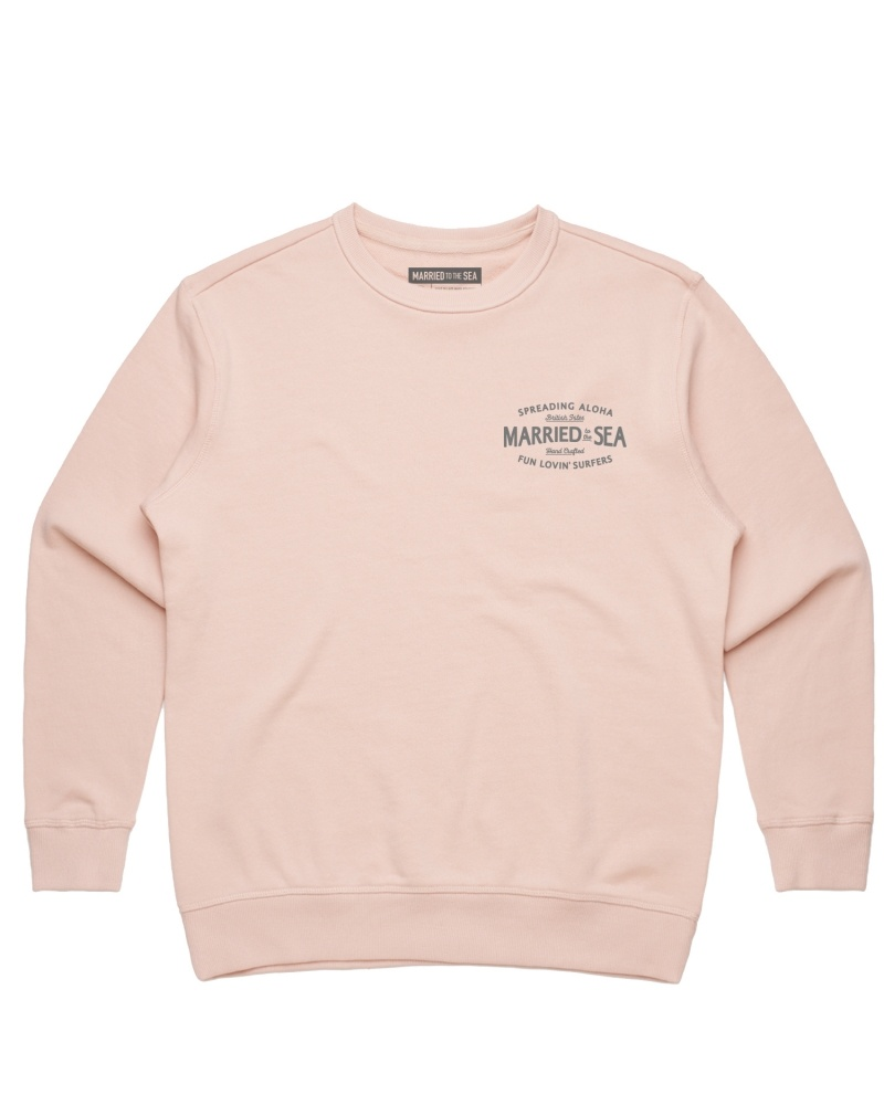 fun lovin surfer crew pale pink