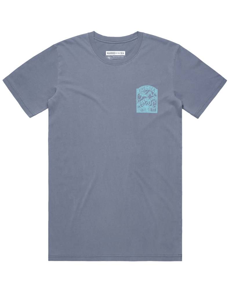 Mens octopus t-shirt faded blue