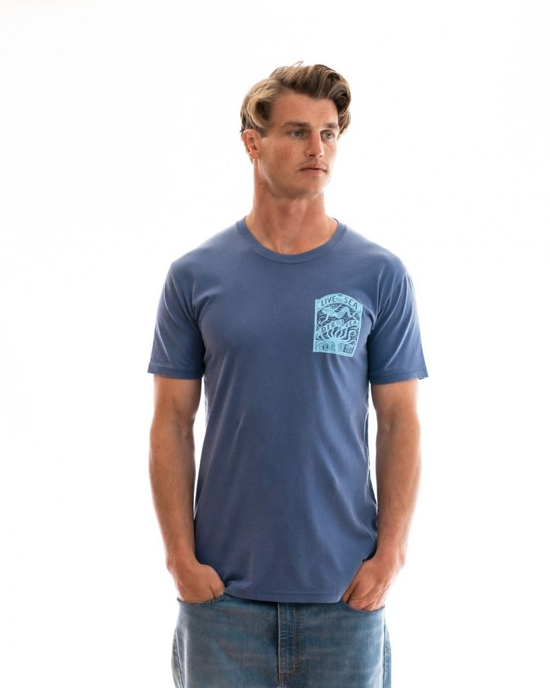 Octopus t-shirt mens faded blue