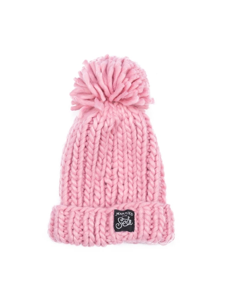 Pink knitted pom beanie