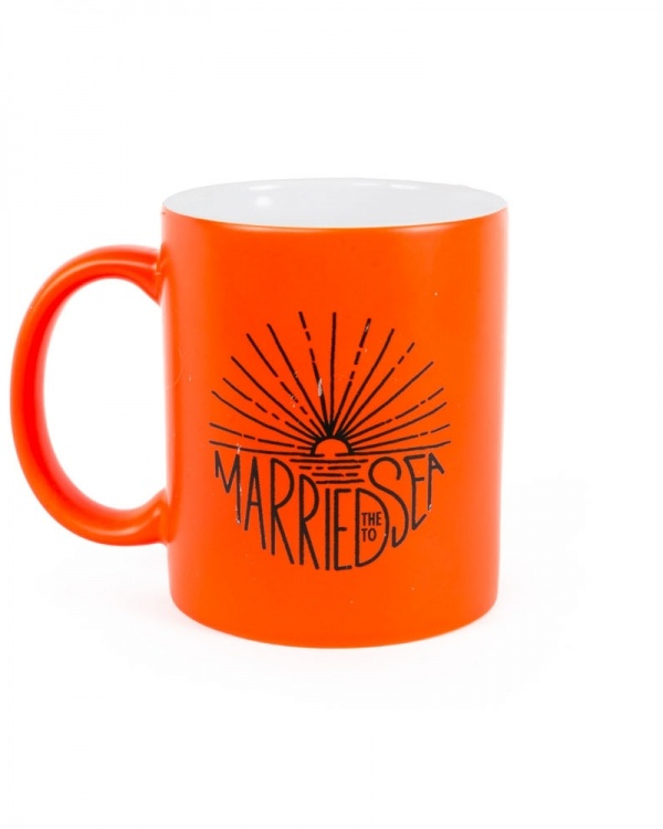 Sunburst neon orange mug
