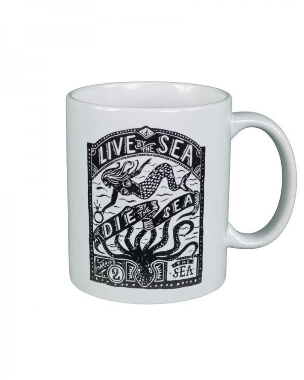 Live by the sea, die by the sea white mug