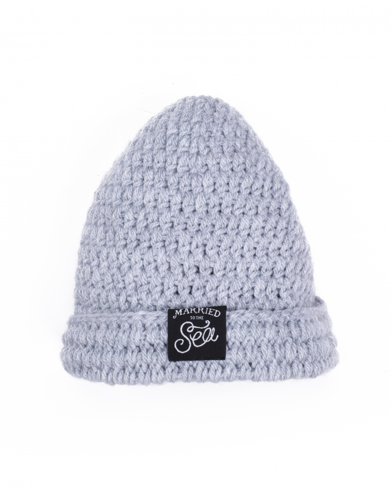 Hand knitted grey beanie