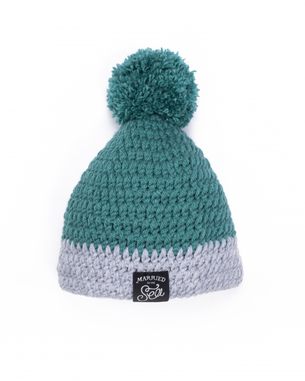 Hand knitted jade and grey beanie