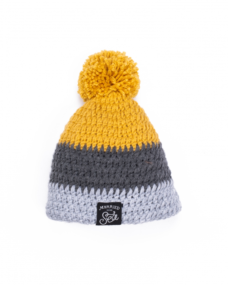 Hand knitted mustard and grey beanie