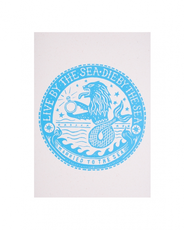 Sealion print bright blue
