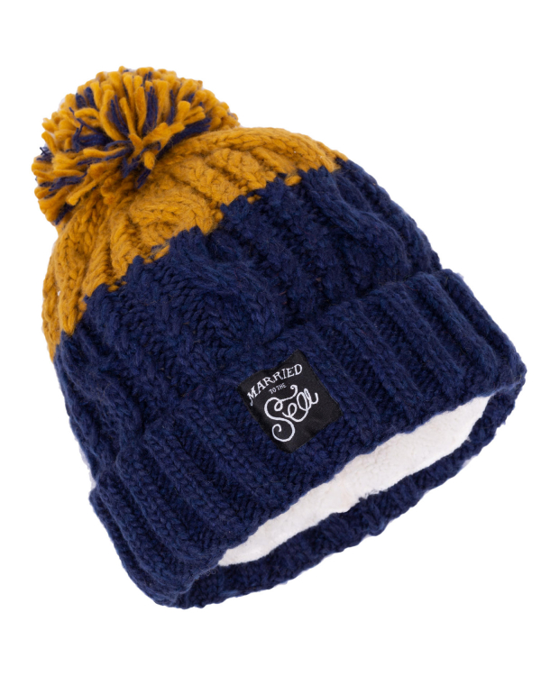 Apres Beanie Mustard and Navy