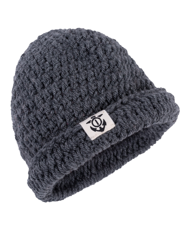Crocheted Beanie Charcoal Folded